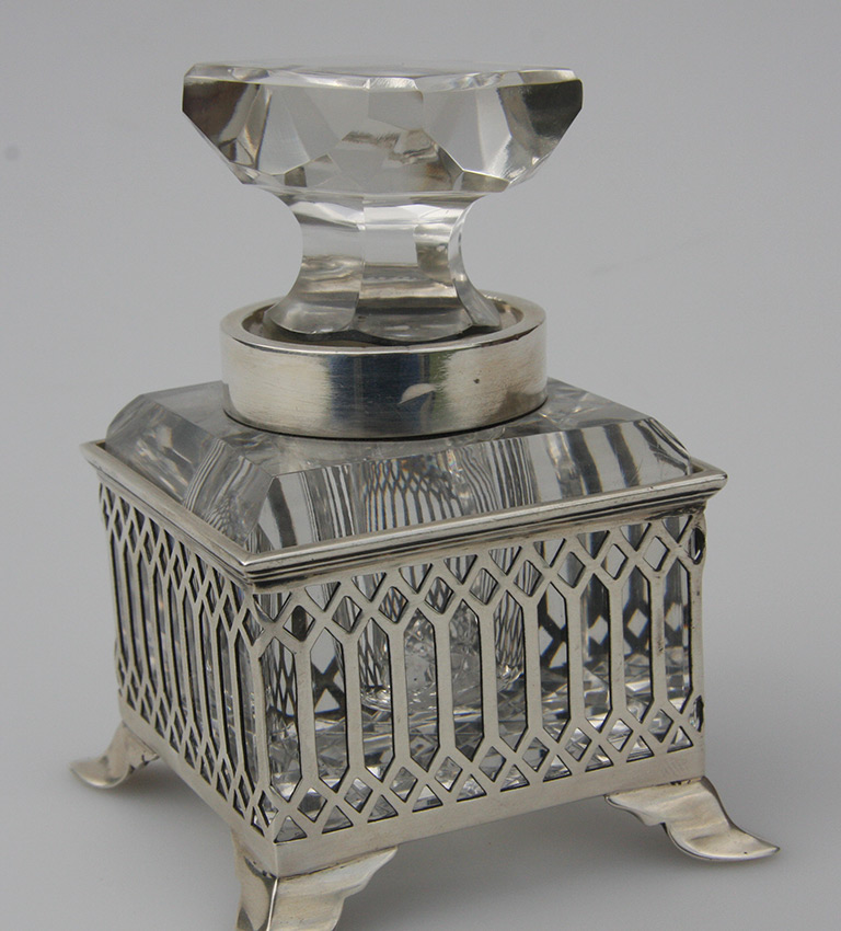 Silver pierced ink bottle holder with glass ink bottle and stopper