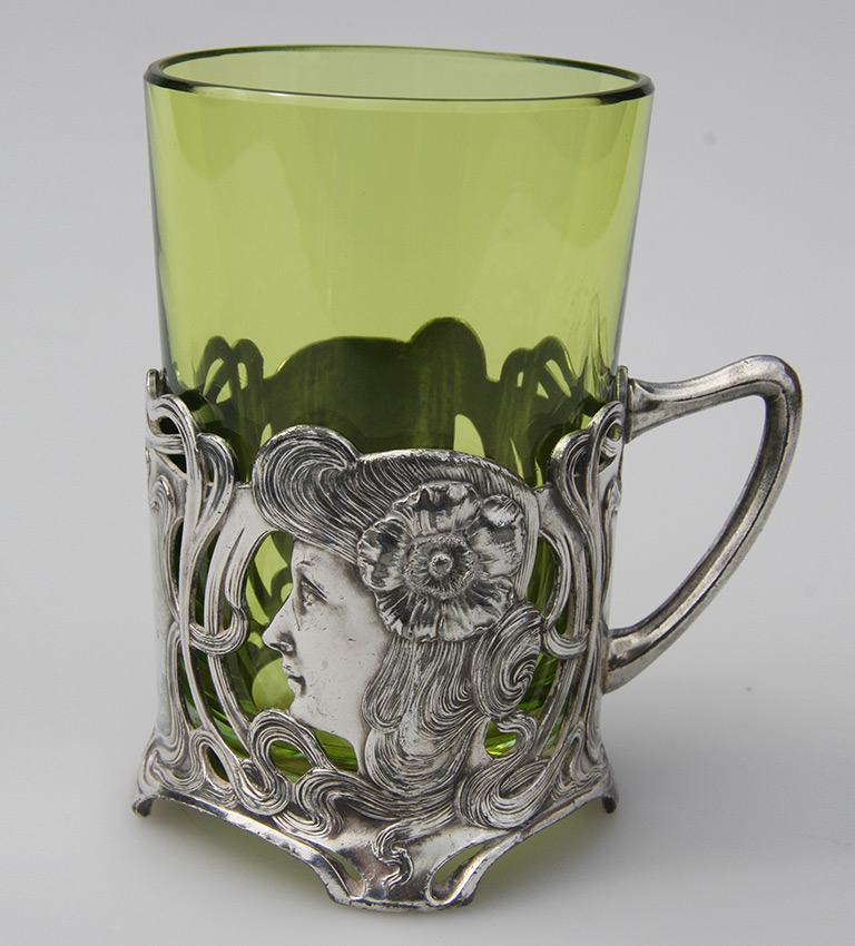 'Art Nouveau' WMF cup holder with green glass liner