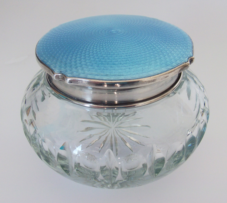 Silver Guilloché powder bowl lid with cut glass bowl